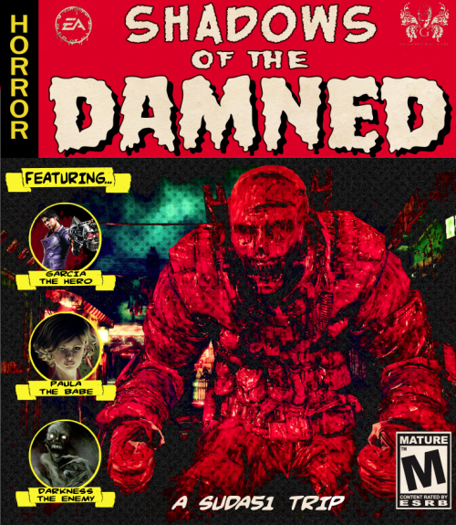 My SHADOWS OF THE DAMNED custom cover (front).  I am stumped on the back cover but once I see the real one I should be able to finish. Also once I finished the front cover, I totally remembered Suda51, Shinji Makami, & Hideo Kojima did an event & had the same TALES FROM THE CRYPT cover style for the poster. OOOPS!