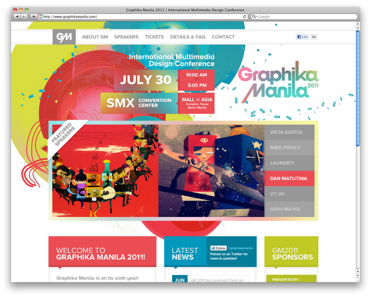 Just launched the new Graphika Manila 2011 website! http://www.graphikamanila.com/ Intenational Multimedia Design Conference on July 30 at SMX Convention Center, featuring WETA Digital, Mike Friolo, Laundry!, Dan Matutina, 27+20, and Seph Mayol. See you there! Design, logotype, and code by Create.ph. Branding and illustrations by Drew Europeo.