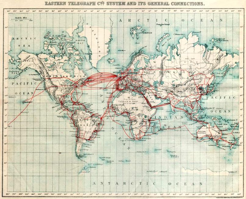 A 110-year old map of undersea communication cables from. The Portuguese coast is quite busy and I wonder if this is still the case today (via Boing Boing).  On a related note, Neal Stephenson's Mother Earth Mother Board, a surprisingly entertaining (at least for me) account of the laying of undersea fiberoptic cables in late 20th century.