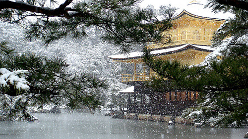Winter snow at the Kinkaku-ji Temple, Kyoto Japan 金閣寺  日本・京都 (by momoyama)