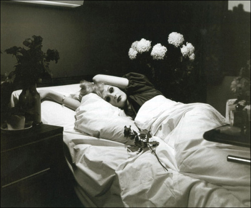 "dehumanizedflesh:  Candy Darling on her deathbed photographed by Peter Hujar, in 1974 In a letter written on her deathbed and intended for Andy Warhol and his followers, Darling said, ""Unfortunately before my death I had no desire left for life … I am just so bored by everything. You might say bored to death."""