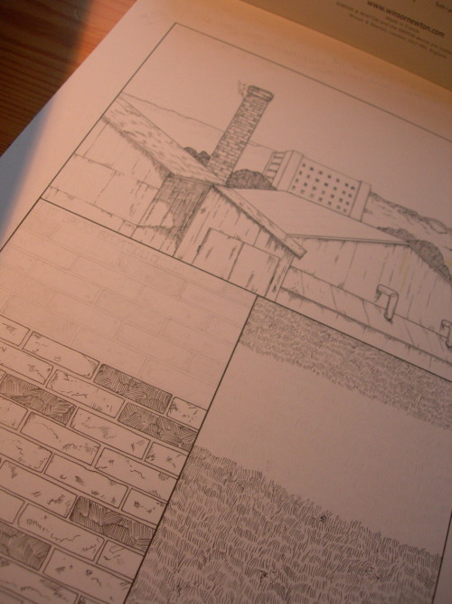 Second of three process pictures offering a peak at pages from the Escapologist #2.