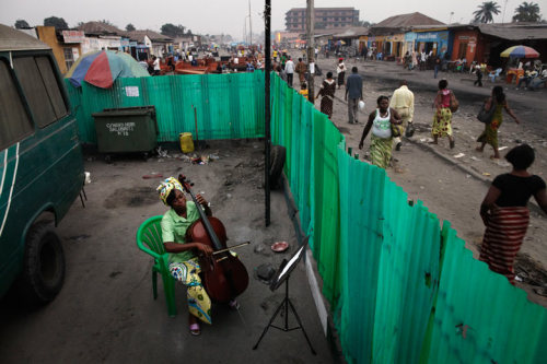 Kinshasa Strings Josephine Mpongo of the the Kimbanguiste Symphony Orchestra practises the cello in the group's rehearsal space. Andrew McConnell's picture won the best of show prize in the US National Press Photographers Association's 2011 photojournalism contest. (via Guardian.co.uk)
