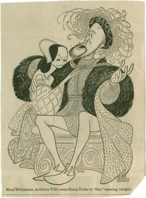 "Happy birthday Al Hirschfeld! Above is one of his NY Times caricatures from 1976, depicting Penny Fuller (Anne Boleyn/Princess Elizabeth) and Nicol Williamson (Henry VIII) in ""Rex."" That drawing is at our Library For The Performing Arts, along with Hirschfeld's writing desk and barber chair, donated to NYPL earlier this year."