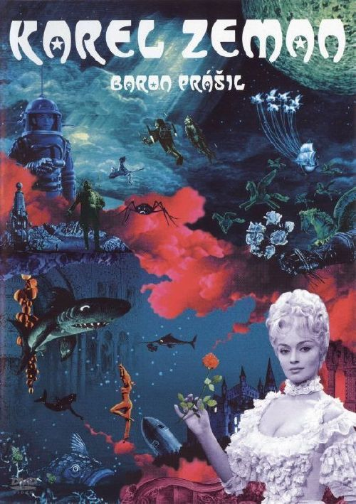 "poster of ""Baron Münchhausen"" by czech master of animation, Karel Zeman."