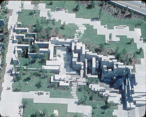 Aerial of Freeway Park, 1970s (by Seattle Municipal Archives)