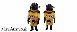 MINI ATOM SUIT2003 96cm×45cm×33cm Geiger counter, PVC, strobe light, othersAn Atom Suit for young children, made with Yanobe's own child and Bakudan, the boy he met in Chernobyl, in mind. Both children were three years old at the time.  See it Here!