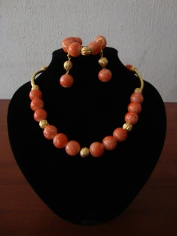 Coral Likeness Set {necklace, bracelet & earring)
