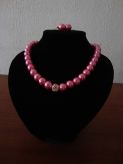Pink Pearls (Necklace & Earrings)