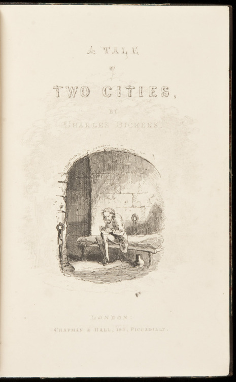A Tale of Two Cities Charles Dickens.  Illustrated by Hablot K. Browne (Phiz). London, Chapman & Hall, 1859.  254 pp. Illustrated with 16 etched plates by Hablot K. Browne (Phiz), including the frontispiece & added title. (8vo) period brown half morocco and marbled boards, spine decorated and lettered in gilt. School arms in gilt on a circular morocco label on front, prize bookplate on front endpaper. First Edition, First Issue.