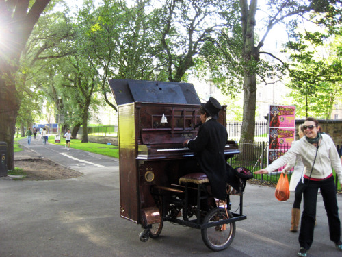 Awesome. Wish I'd taken a video. His piano-bike could go forward/back/sideways, and his playing while cycling in circles was totally oldschool jazz-jukebox style, twas quite awesome! I wish I'd given him a couple pounds. :(  Edinburgh, 2009