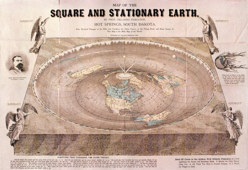 Map of the Square and Stationary Earth  With his 1893 Map of the Square and Stationary Earth, Orlando Ferguson made visual his emphatic claim that the earth was flat. One hundred and eighteen years later, one of the last remaining copies is being donated to the Library of Congress,  which inexplicably does not already own a copy of this dotty gem. Only  one other copy is known to exist. More (including a high-resolution  scan) at The History Blog. Via io9 and MapHist.