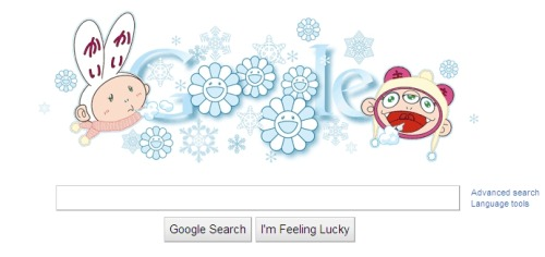 "Awesome ""first day of winter"" Google Doodle for us Southerners. Art by Takashi Murakami, 2011."