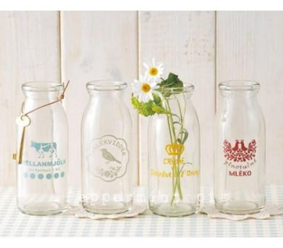 Beautiful vintage milk bottles.