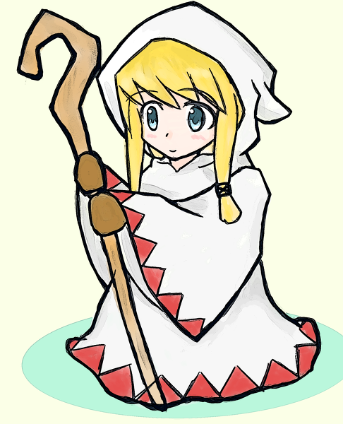 [Picture: A White Mage from FF1. She is smiling and holding a staff.]