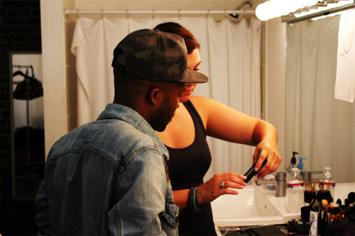"walkwithdonnis:  ""Eyes Low"" Behind The Scenes Photos Shot By: M∆RCO DOLO.  Me and Donnis going over looks for the girls in his new video ""Eyes Low"" feat. Gorilla Zoe"