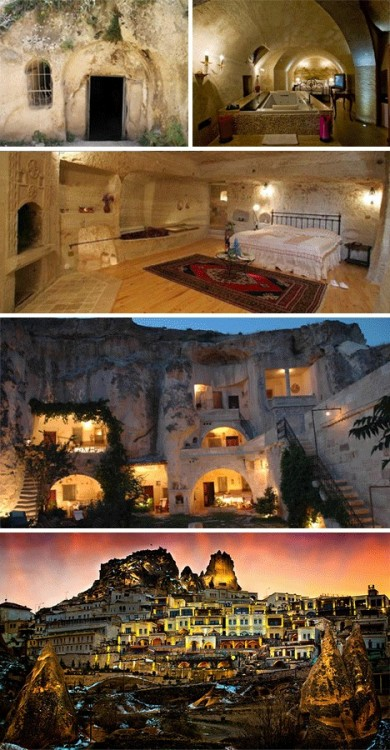 Cave homes in Cappadocia, Turkey (via See )