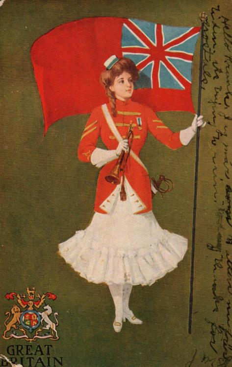 Fun British postcard, postmarked October 30th 1907. The message written on the side appears to be in German?