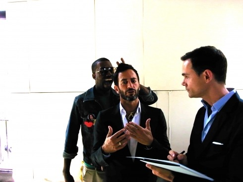 awesomepeoplehangingouttogether:  Kanye West and Marc Jacobs  Dear Paul Rudd,This is pretty much awesome. Don't you think?