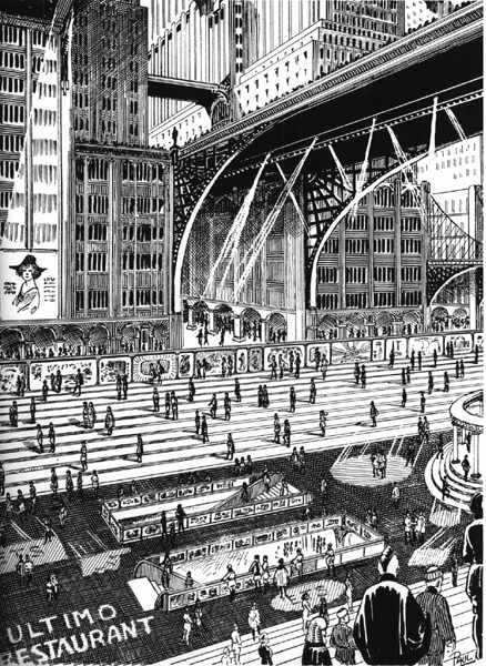vintagefuture:  Moving Sidewalks in the city of the future
