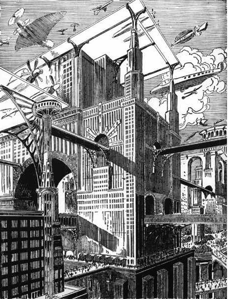 A lot of vintage depictions of futuristic cities involved these elevated roads supported by and passing through skyscrapers. The idea is pretty impractical, but it looks awesome