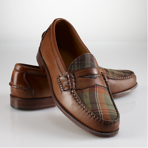 Ralph Lauren Elsworth Madras Penny Loafer, Hand-sewn in the USA from Burnished Calfskin Leather and Muted Woven Madras