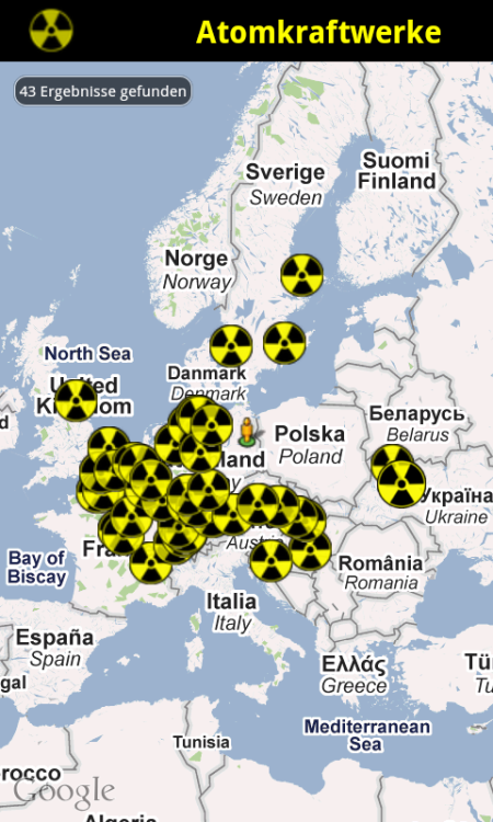 "nuclearsites:  Nuclear power plants around Berlin Screenshot of my upcoming Augmented Reality content - You can see how  cluttered with active Nuclear Power Plants (in German ""Atomkraftwerke"")  the area of 1000km around Berlin is… 43 operating plants!"