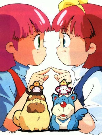 The identical heroines of the two Fairy Princess Minky Momo TV series (1982, 1991), easily the biggest non-Pierrot magical girl series of the 80s. Momo stands distinct from the Toei magical girls that preceded her: Toei's magical girls (as noted yesterday) draw from European fantasy and are named with English syllabary (Sally, Meg, Lalabel, Chappy), while Minky Momo is a sugar-coated reimagining of the Japanese tale of Momotaro. Where Momotaro comes to earth from heaven and becomes the child of an earthly couple, so does Momo (with the land of dreams in the sky taking the place of heaven), and both embark on their adventures accompanied by a dog, bird and monkey. Throughout the 70s and early 80s, girls' programming based on Western stories was immensely popular: the years before Minky Momo saw shoujo anime based on Louisa May Alcott, Pyotr Tchaikovsky, Helen Keller, L.M Montgomery, Anne Frank and more. However, around 1980-1981 there was a small resurgence of Japanese-based science fiction and fantasy anime: the later chapters of Leiji Matsumoto's nationalist epic Space Battleship Yamato were probably the most prominent, but Studio Pierrot's Urusei Yatsura (Creamy Mami's spiritual mother) also figures. One of the Doraemon films in 1981 was based on the Momotaro story as well. Minky Momo continues this theme. Following Momo, Pierrot's magical girl series often had a more Japanese flavor (though this can probably also be attributed to the Urusei Yatsura influence)— in Magical Fairy Persia, for instance, the heroine is helped by a trio of kappa.