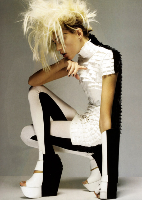 Anja Rubik in black and white Gareth Pugh