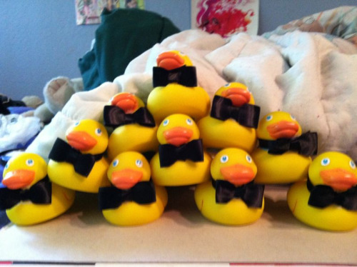 So I spent my afternoon putting bowties on rubber ducks. And they say I'm not productive during the summer!