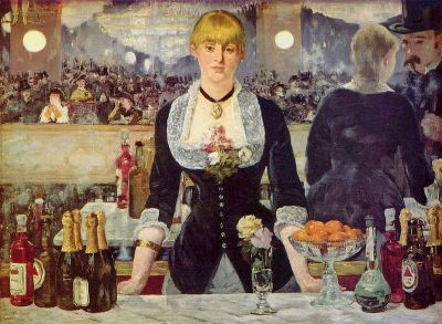 Édouard Manet A Bar at the Folies-Bergère (Le Bar aux Folies-Bergère) 1882, Oil on canvas96 × 130 cm (37.8 × 51.2 in)Courtauld Institute of Art