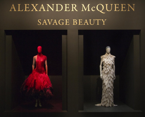 Alexander McQueen: Savage Beauty Exhibit at the Met This was a highlight of New York. I honestly don't know what I can say about the McQueen exhibit at the Met that hasn't been said, or isn't composed entirely of stunned babbling noises. If you have any power to physically go, do it. It is literally one of the most beautiful things I have ever seen in my life. Beyond the masterful execution, genius exploration of concept, and unsurpassed beauty of the clothes themselves, the Costume Institute's presentation of everything was pure art. Visuals, sound, lighting…I have not seen anything outside of Disneyland that has created such an immersion into the imagination of an artist. I have never left with such a complete understanding of a body of work. No detail was overlooked, with each element conspiring to recreate the sensory experience of his collections. Rooms included floor to ceiling antiqued glass framed in gold, candles flickering in a sumptuous romantic salon, cabinets of charred wood holding accessories and headpieces, fans blowing capes into life, pedestals and Victorian cases of spinning dresses close enough to touch, runway videos set into ceilings and walls, two way mirrors, and the infamous hologram of Kate Moss spinning in ethereal space. The sound design was meticulous, each room filling with the romantic and often disturbing orchestrations underlying the emotional themes of the work. Videos played a perfect counterpart, showing the life of the clothing in motion and the performance art that his shows truly were. One of my favorite parts of the exhibit were the numerous quotes and explanations in McQueen's own words–another way to tip-toe deeper into his feverish mind. I stepped out of the exhibit and into the gift shop as if exiting a lovely and twisted dream. Alexander McQueen was nothing short of a genius: a true artist whose medium happened to be fashion. This exhibit did him solid justice, a beautiful & tragic testament to how great our loss truly is. Experience the exhibit online with amazing videos, explanations, and high resolution images on the Met's website (which is where I got these lovelies). Watch this exclusive video tour from New York Magazine.