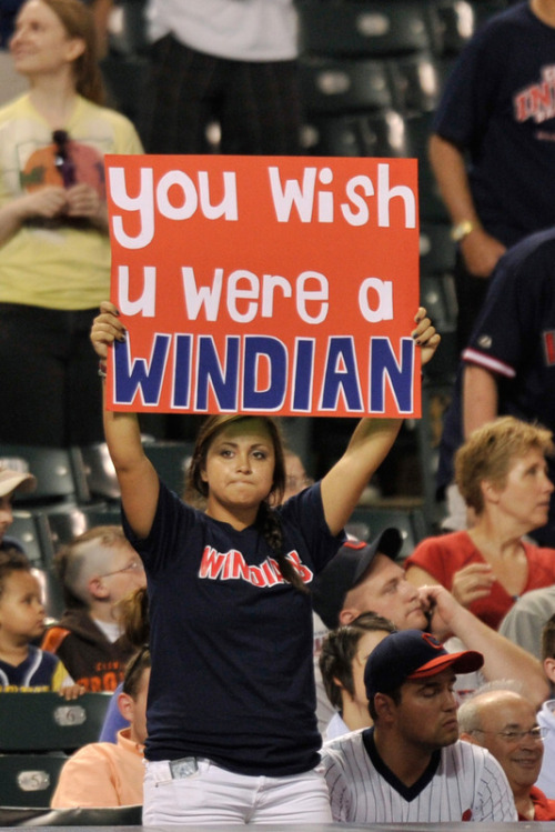 Jamie Sabau/Getty Images A Cleveland Indians fan shows her support for her team during a game against the Colorado Rockies at Progressive Field on June 21, 2011 in Cleveland, Ohio.