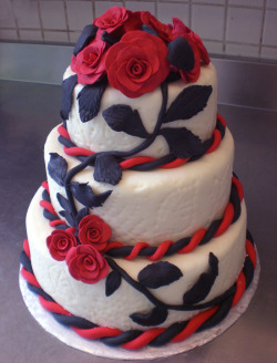 Wedding cake with rolled fondant