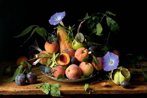 stilllifequickheart: 2010  Paulette Tavormina ~ Peaches and Morning Glories, after G.G.