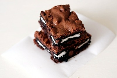 My favorite brownie recipe gets stuffed with Oreos. Recipe