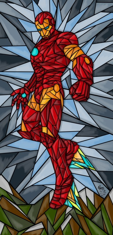Last one for the night. Stained Glass Iron Man. Or as a friend put it, St. Tony, Patron Saint of Gazillionaires.