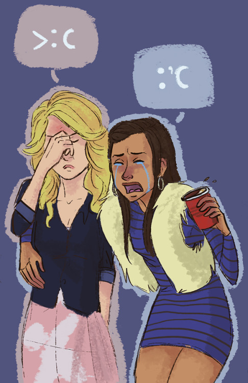 So the request was for drunk Santana draping over Quinn or as I interpreted it:  angry drunk Quinn has seriously had it with this weepy shit.  Not a perfect drawing by any means but I enjoyed doing it.