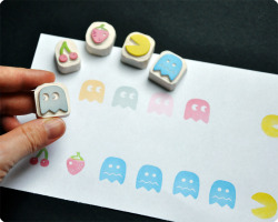 it8bit:  Pac Man Hand Carved Rubber Stamp Set  - by Memi the Rainbow Available at Memi's etsy. Each set comes with Pacman, a Ghost, a confused Ghost, Cherries, and a Strawberry.  flickr | blog