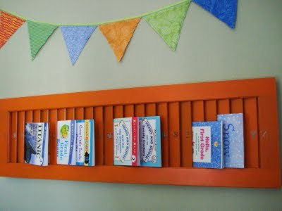 Fun storage for children's books : Something To Do For those pesky paperbacks that our kids love so much but are trickt to store. I keep Wednesday's in a couple baskets that she flip through kind of like a rolodex but this is much cuter and showcases them much better meaning they would get read even more.