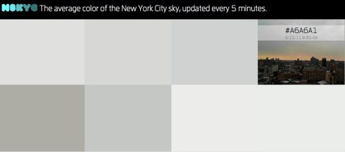 N SKY C: A website that updates every 5 minutes with the average color of the New York City sky. Seriously. (via Skip)