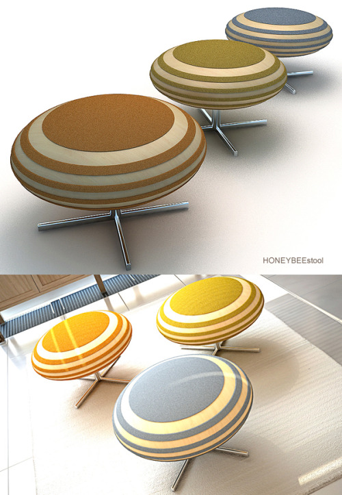 honeybee stool : DESIGNJOO Apparently, these adorably designed bits of modern furniture have a honeycomb style storage under the seat. I couldn't find any inside photos of the storage space in these stools so we'll have to take their word for it. I really enjoy how these look and would totally have one in my living room.