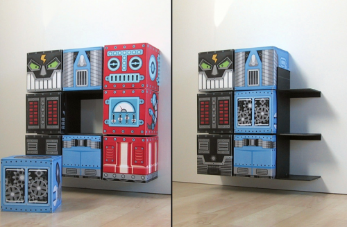 Robox : Fun Storage for Kids Room by Guus Oosterbaan via  Chictip This has to be the most fun cube storage system I have seen yet. Each cube comes with its own design so that robot combinations are plentiful! I think the possibilities for a DIY version of this are limitless!