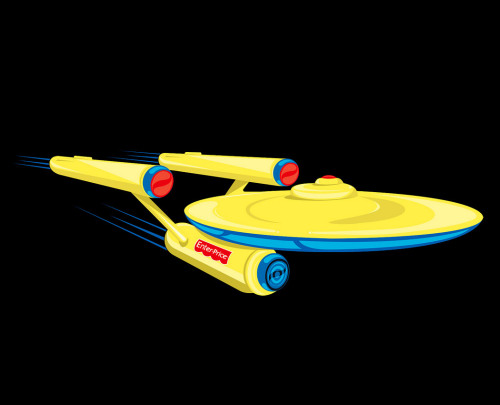 "The starship U.S.S. Enterprise from Star Trek is now child friendly in Fabian Gonzalez's new illustration. ""Wrap speed for holidays"" Related Rampages: Blend Vader 