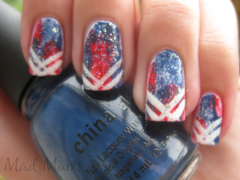 madmanis:  Tie dye 4th of July nails Zoya - SookiChina Glaze - First MateRevlon - Belle