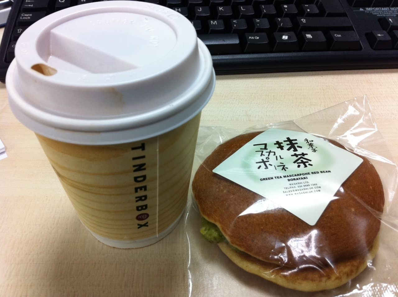Afternoon Treats - flat white from Tinderbox (£2.15) and Green tea mascarpone and red bean dorayaki Japanese pancake (£1.50) Tinderbox's flat white trumps Taylor Street Barista's flat white (£2.40) both in terms of flavour and price. As a patriot, I've frequented Aussie cafe, Taylor Street Baristas for my occasional expresso fix. The velvety milk and strong coffee at Tinderbox has won me over and now I've found a suitable replacement. Tinderbox, 100 Middlesex Street, London E1 7LF Thanks to a friend's recommendation I today had lunch at Japanika, a tiny Japanese take away joint on the fringes of Spitafields Market and Brick Lane. The food available is far more superior than the chains Wasabi and Itsu and at reasonable prices. A house special sushi set costs only £6.90 and the dorayaki Japanese pancake is a dirt cheap £1.50. The chicken katsu curry is apparently pretty good as well. Japanika, 10 Hanbury Street, London E1 6QRhttp://www.japanika.co.uk/index.html