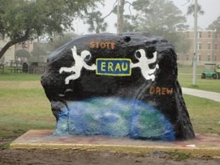 The Spirit Rock is positioned at the center of the Daytona Beach campus and serves to celebrate, commemorate and observe significant happenings. In this photo, the Spirit Rock was painted to celebrate two Embry-Riddle alumni and astronauts who flew on STS-133, the shuttle Discovery's final flight.
