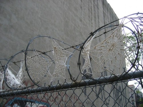 Crochet vs Razor wire. Crystal Gregory