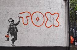 "thedailywhat:  Street Art of the Day: Banksy responds to the British Transport Police's anti-graffiti campaign ""Operation Misfit"" with a Camden-based tribute-shoutout to hometown tagger Tox — one of five street artists charged in the sweep. [a