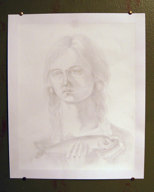 "Маша с селедкой (Self portrait with herring) 14 x 17"" silverpoint on gesso"